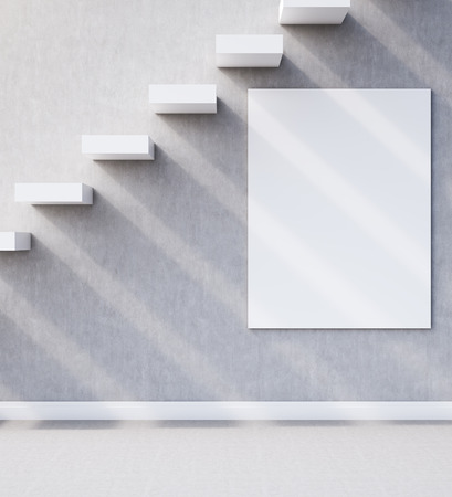 stairs interior: Concrete Room interior. Stairs built in wall with large vertical poster under it. Concept of road to success. 3d rendering. Mock up Stock Photo