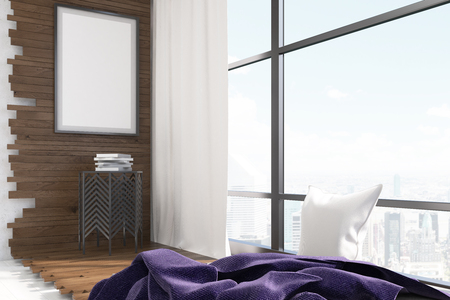 white curtain: New York city apartment. Coffee table under vertical poster on wooden wall. White curtain. Blanket and pillow near large window. 3d rendering. Mock up