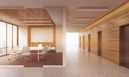 large doors: Meeting room in modern office interior with glass wall, table and chairs. Big whiteboard. Many doors. Large window. Concept of business negotiations. 3d rendering. Mock up. Toned image