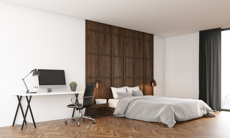 bedroom wall: Cosy bedroom interior with wooden wall. Modern computer on table. Large bed near window. 3D render