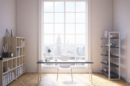 Study Desk: Study room interior in modern New York City. Writing table with desk lamp. Two shelves by sides of premises. Large window. Concept of studying and working. 3d rendering Stock Photo