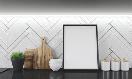 Neue Küchentheke Mit Arbeitsplatte, Platten, Gläser Und Schalen Zu Schneiden.  Großes Bild In