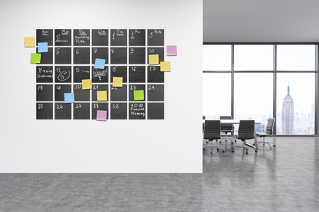 view window: Calendar in modern office interior. stikcy note notes on wall. Black board. New York City view through big window. 3d rendering