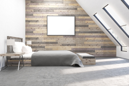 appartment: Modern bedroom with comfortable furniture. Wooden walls. Concept of appartment. 3D render.