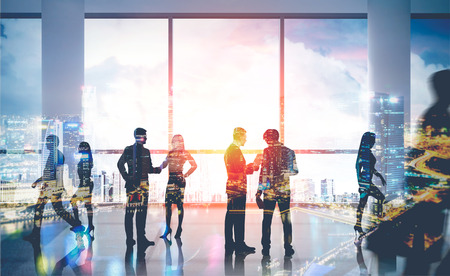 estate planning: People talking in big Singapore city office. Businessmen passing by going to different places. Concept of business meeting. 3d rendering. Toned image. Double exposure. Stock Photo