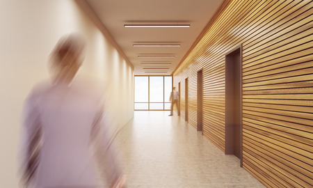 corridor: Businessman going in corridor of office building. Concept of business architecture. 3d rendering