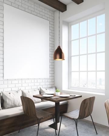 4cd6c704241c #60810945 - Entre otras restaurante. mesa cuadrada, sillas y sofá con  almohadas. Gran ventana. Concepto de comer en un lugar público. Las 3D.  Bosquejo