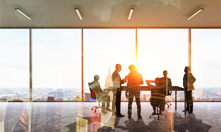 toned: Silhouettes of people in suits talking in New York office. Big table in front of panoramic window. Concept of brainstorming. 3d rendering. Toned image. Double exposure