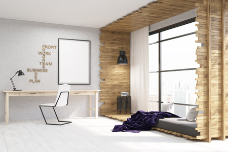 under the bed: Bed and home office in one room. Poster in frame on wall. Table and chair under it. Concept of work and rest. 3d rendering. Mock up Stock Photo