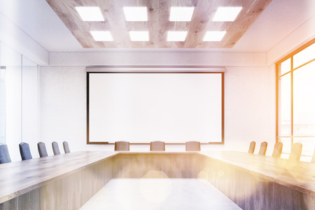 toning: Conference room interior with large whiteboard, chairs and table. Concept of board meeting. 3d rendering, mock up, toned image.