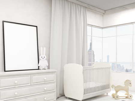 nursery room: Nursery room interior with poster, toy rabbit, cot and wardrobe. Concept of baby room. 3d rendering. Mock up