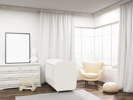 white window: Nursery room interior in big city apartment. Poster on wardrobe, cot, armchair, frame. Toy horse. Concept of comfortable dwelling. 3d rendering. Mock up Stock Photo