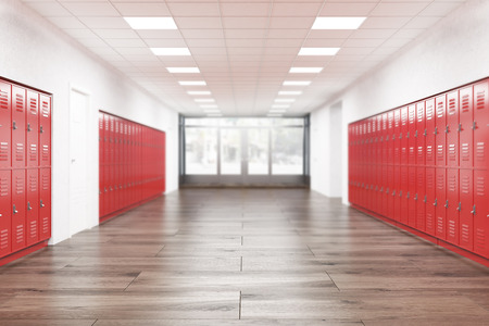 School lobby with red lockers. Fitness Gym. Concept of studying in high school. 3d rendering