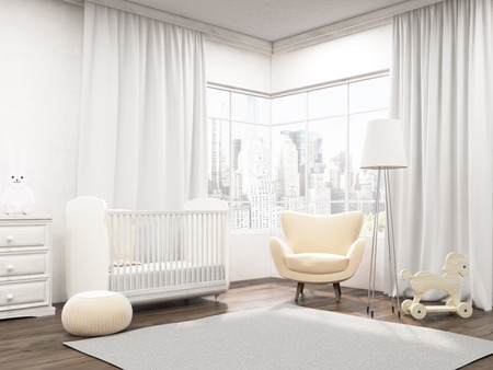 Baby room interior with horse on wheels, toy hare, cot, armchair and wardrobe. Carpet on floor. Corner view. 3d rendering