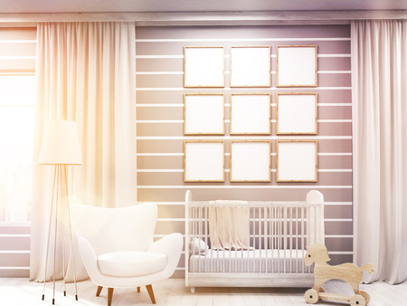 dwelling: Room of child with gallery on wall, bed, toy horse and armchair, frames. Concept of comfortable dwelling. 3d rendering. Mock up. Toned image