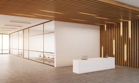 리셉션 룸 모퉁이 백그라운드에서 유리 벽 두 사무실. 목조 천장입니다. 현대 회사 인테리어의 개념입니다. 3d 렌더링입니다. 모크 업. 톤 이미지 스톡 콘텐츠