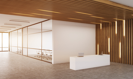 Reception room corner with two offices with glass wall in background. Wooden ceiling. Concept of modern company interior. 3d rendering. Mock up. Toned image