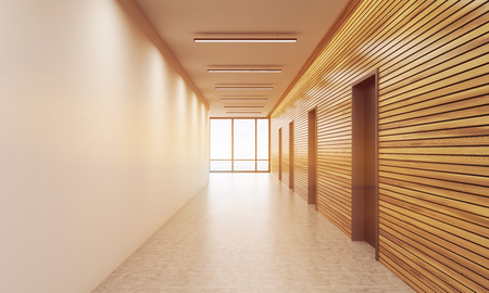 clean office: Office corridor interior. White and wooden walls. Concept of busy business building. 3d rendering. Mock up. Toned image Stock Photo