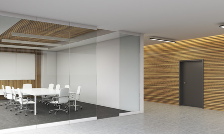 boardroom: Conference room interior in modern office. Glass and wooden wall. White furniture. Concept of board meeting. 3d rendering. Mock up. Stock Photo