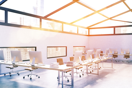 sunlit: Sunlit office in skyscraper attic with books and computers on desks. Concept of modern business establishment. 3d rendering. Toned image