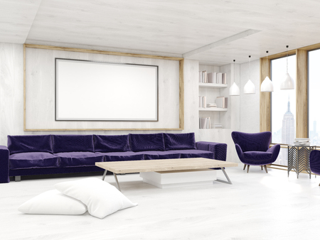 framed picture: Living room interior with framed picture on wall, bookcase and long sofa. Concept of comfortable home. 3d rendering. Mock up
