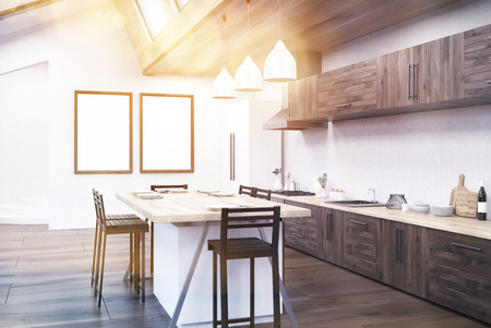 family reunion: Kitchen interior in modern apartment. Dining table, counters and posters on walls. Concept of family reunion. 3d rendering. Mock up. Toned image