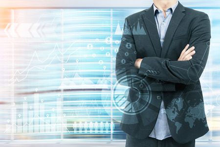 body toning: Man in suit standing in blurred city background. Sketches and diagrams on foreground. Elements of this image furnished by NASA. Double exposure. Toned image