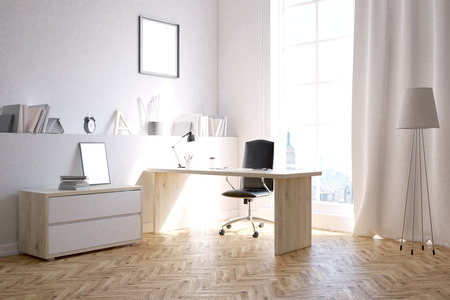 study room: Study room for busy businessman. Concept of extra work at home. 3d rendering. Mock up Stock Photo