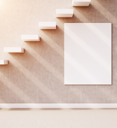 under view: Building interior. Side view of stairs in wall with large vertical poster under them. Concept of going up. 3d rendering. Mock up. Toned image