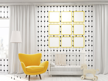 curtain up: Toddler room interior in modern New York apartment with posters . Concept of infant years in happy family. 3d rendering. Mock up