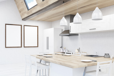 modern kitchen: Modern kitchen with dining table, fridge, counters. Concept of family breakfast. 3d rendering. Mock up