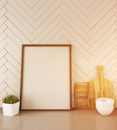 framed picture: Contemporary kitchen counter with framed picture, potted plant, bowls and cutting boards. White wooden wall. Concept of healthy food making. 3d rendering. Mock up. Toned image. Stock Photo