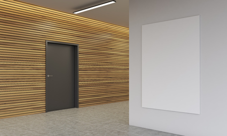 corridor: Corridor of modern office with wooden wall and black door in it. Large white  vertical poster hanging. Concept of contemporary working space. 3d rendering. Mock up.
