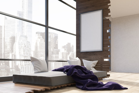 view of a comfortable bedroom: Room interior in big city with bed, purple blanket and vertical framed poster on wooden wall. Concept of comfortable bedroom with great view. 3d rendering. Mock up. Stock Photo