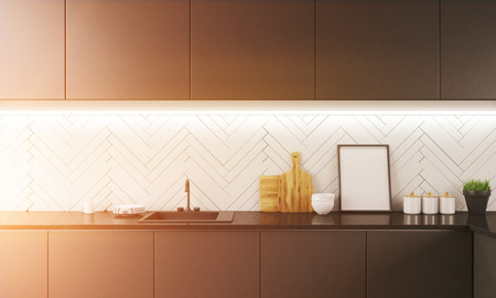 toned: Working surface of modern kitchen in apartment. Tap, plates, cutting boards, bowls and jars on counter. Picture in corner. Concept of home cooking. 3d rendering. Mock up. Toned image.