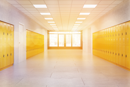 Middle school lobby with bright lockers. Fitness Gym. Concept of textbook storage at school. 3d rendering. Toned image Stock fotó