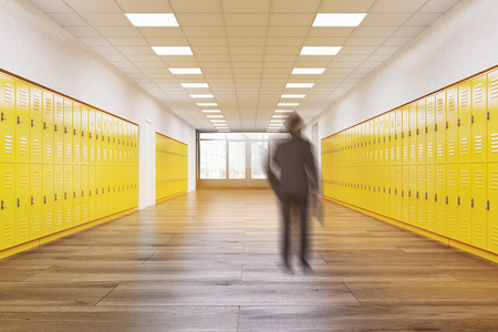 recess: Student standing alone in school hallway. Concept of getting education. 3d rendering