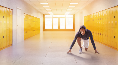 crouch: Man in hoodie taking crouch start in school lobby. Fitness Gym. Concept of physical education and fitness. 3d rendering. Toned image
