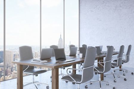panoramic business: Room interior. New York City seen through panoramic window of modern office. Large comfortable chairs, wooden table, laptops. Concept of business negotiations. 3d rendering. Mock up.