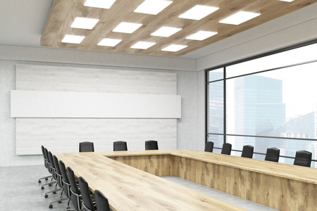 board meeting: Office room interior with long table, chairs, poster, windows and city view. Concept of board meeting. 3d rendering. Mock up