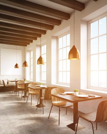toning: Restaurant interior in big city. Chairs, tables, sofas and ceiling lamps. Concept of local business promotion. 3d rendering. Mock up. Toned image