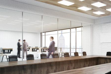 colleague: People talking in office. Their colleague going to other floor. Conference room with table and chairs in foreground.3d rendering. Mock up