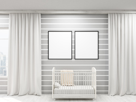 infancy: Nursery with two posters, bed and large windows, frames. Concept of cozy apartment. 3d rendering. Mock up Stock Photo