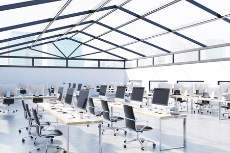 attic: Roof office with lots of desktops on tables and glass roof. Concept of busy company interior in attic. 3d rendering. Mock up