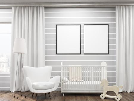 Comfortabele kid's kamer met bed, frame, fauteuil, stuk speelgoed paard en posters op de muur. Concept van home decor. 3D-rendering. Mock up