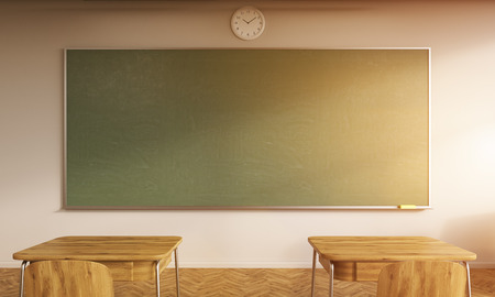 light classroom: School room with chalkboard, clock and two desks with chairs. Concept of going back to school. 3d rendering. Mock up. Toned image Stock Photo