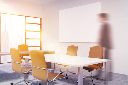 board room: Businessman in board room. New York City seen through window. Horizontal poster on wall. 3d rendering. Mock up. Toned image