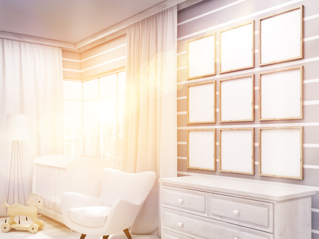 window shade: Childrens room with armchair, frames,  bed, wardrobe and photo gallery on wall. Concept of stylish room. 3d rendering. Mock up. Toned image