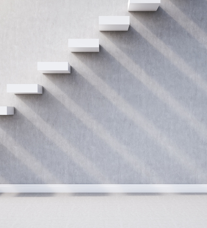 concrete stairs: Side view of built in concrete stairs and wall. Long shadows. Concept of route to success in business. 3d rendering.