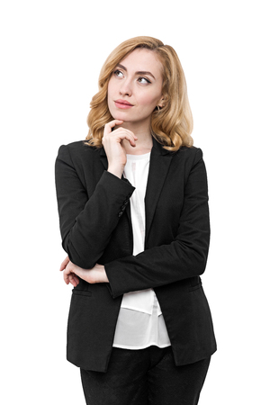 collarless: Pensive woman wearing black suit and white collarless shirt looking to one side. Concept of decision making in business